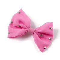 Silver Studded Pink Bow Hair Clip – Claire's