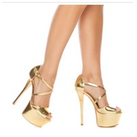 Metallic Gold Platform Stilettos High Heels Criss Cross Stappy Shoes