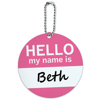 Beth Hello My Name Is Round ID Card Luggage Tag