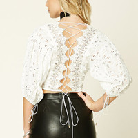 Floral Eyelet Lace-Up Crop Top