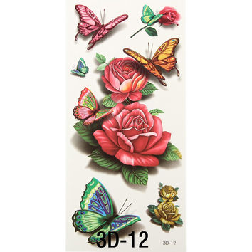 2pcs 3D Tattoo Body Art Chest Tattoo Sleeve Stickers Glitter Temporary Tattoos Removal Fake Small Rose  Design For Body