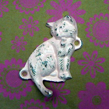 Cat Kitten Cast Iron Wall Hook  Shabby Chic Pink Distressed Leash Key Keys Jewelry Scarf Cap Single Tail Hook