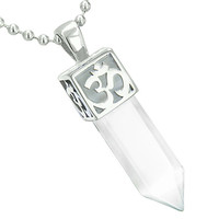 Ancient OM Amulet Magic Crystal Point Lucky Charm Snow White Cats Eye 18 Inch Pendant Necklace