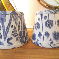 2 vintage antique White and Navy Ikat print Shades ~ Small lamp shades