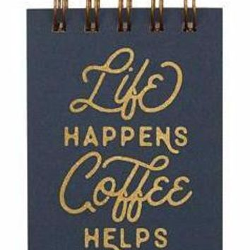 Mini Life Happens Coffee Helps Pocket Notebook