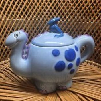 RARE Treasure Craft Dinosaur Teapot Blue Purple Spots NOS Pottery Ceramic HTF