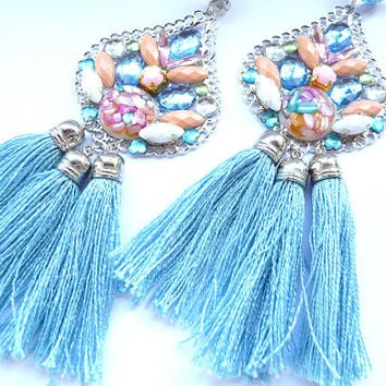 Multicolor Earrings, Statement earrings, Tassel earrings, Pink earrings, blue earrings, sky blue earrings, teardrop earrings, Boho Earrings,