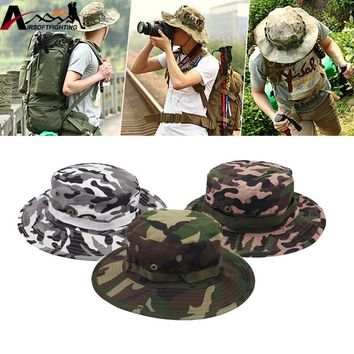 Wide Brim Washable Boonie Hats Adjustable Camouflage Bucket Hats Outdoor Hunting Fishing Foldable Sun UV Protection Sunhat