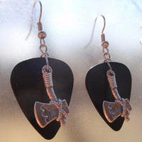 Tomahawk Earrings, Southwest Guitar Pick Jewelry, Silver Dangling Native American Axe, 12 Custom Colors, Pierced or Clip On Earrings