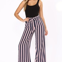 Memory Lane Waist Tie Pants - Navy/Red