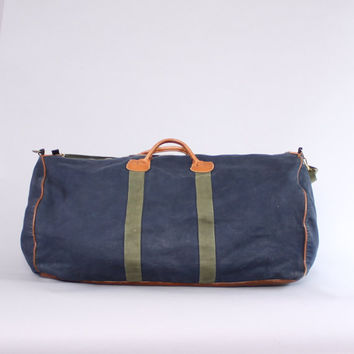 Vintage 80s LL BEAN Duffle BAG / 1980s Navy Canvas & Leather Weekender Travel Duffel Bag with Shoulder Strap
