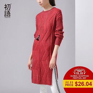 Toyouth Winter New Jacquard Geometrical Dress O-Neck Long Sleeve Knitting Loose One Piece Dresses