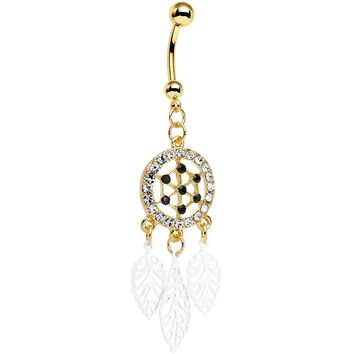 Clear Gem Gold Anodized Steel Dream Leaf Dangle Belly Ring