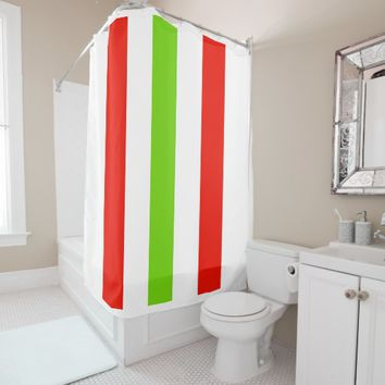 Stripes White Red Green Shower Curtain