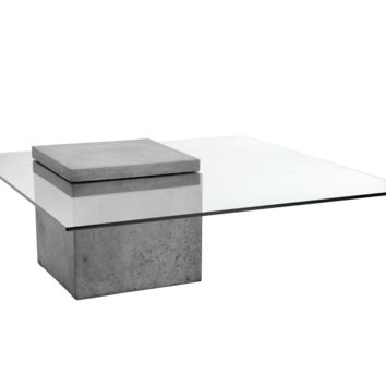GARAGE ANTHRACITE GREY CONCRETE TEMPERED GLASS TOP COFFEE TABLE