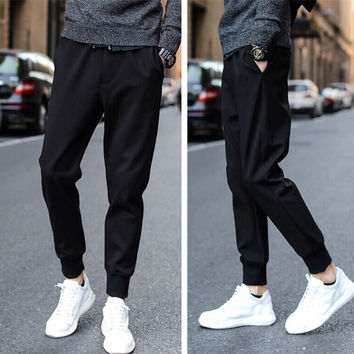 Autumn Men Pants Casual Skinny Pants Knit Men's Fashion Sportswear [6533770183]
