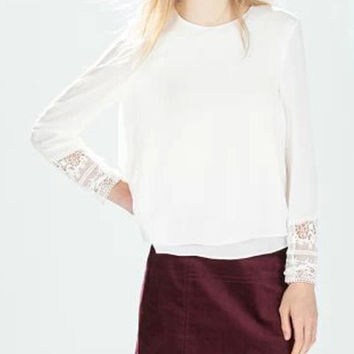 Lace Splicing Solid Color Blouse