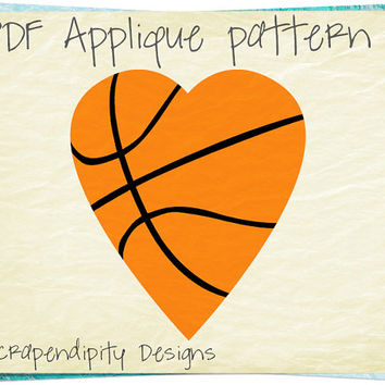 Basketball Applique Template - Heart Applique Pattern / Boys Sports Quilt / Baby Basketball Blanket / Nursery Room Wall Hanging AP297-D