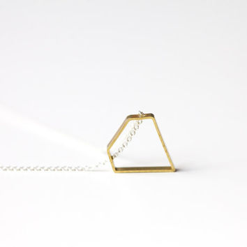 Diamond shaped necklace: brass and sterling silver necklace - geometric jewelry