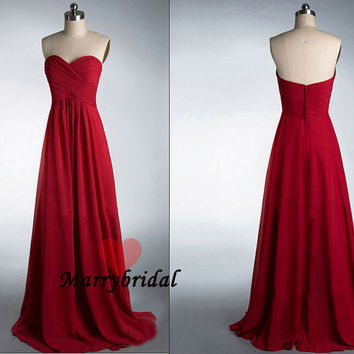 Affordable Simple Strapless Sweetheart Red Chiffon Bridesmaid dresses, Cheap Junior bridesmaid dress, Discount Simple prom dress, MB0034