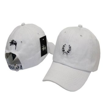 White Stussy Embroidered Adjustable Cotton Baseball Cap Hat