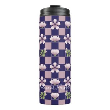 Cherry Blossom - Sakura - Pink Floral Pattern Blue Thermal Tumbler