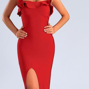 Sweetheart Slit Bandage Dress