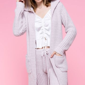 Cozy` chenille knit hoodie cardigan with side pockets