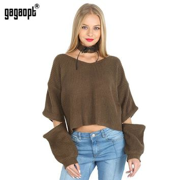 Autumn/ Winter 4 Color Halter Knitted Sweater V-neck Sexy Loose Open Zipper Sleeve Pull Tricot  Pullover Jumper