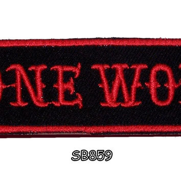LONE WOLF Red on Black Iron on Small Badge Patch for Biker Vest SB859