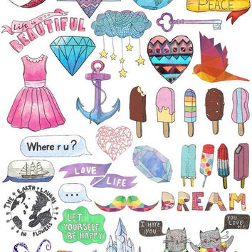 Set #40. Mockup printable Tumblr Stickers, Stickers, Set of stickers. Decals. Instant Download PDF and PNG Files