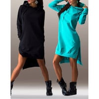 Fashion Irregular hoodie dress