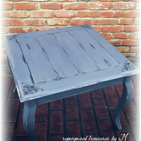Shabby chic end table, distressed side table, french country end table, country cottage, distressed coffee  table, coffee table, gray table