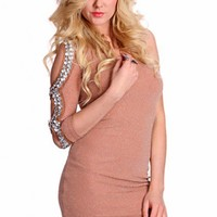 Mocha Silver Shimmer Threaded One Shoulder Cut Out Long Sleeve Gem Stone Decor Stylish Dress @ Amiclubwear sexy dresses,sexy dress,prom dress,summer dress,spring dress,prom gowns,teens dresses,sexy party wear,women's cocktail dresses,ball dresses,sun dres