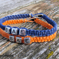 Navy and Orange Couples or Friendship Bracelets, BAE, Before Anyone Else, Hemp Jewelry