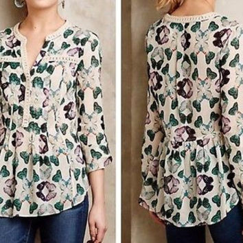 Anthropologie Abella Pintuck Blouse By Maeve Sz 6 - NWT