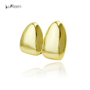 LuReen Gold Teeth Grillz Canine Plain Hiphop Double Teeth Caps Dental Top Tooth Grills Cosplay Party Body Jewelry LD0104