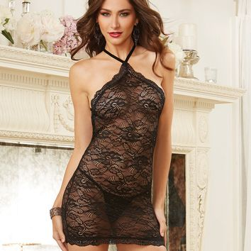 Velvet Strapped High Neck Chemise