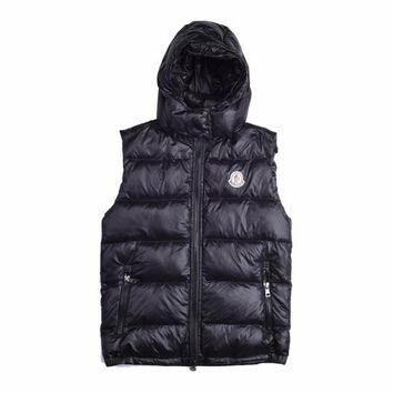 Moncler Men's Hoodie Down Full Zip Button Down Vest - Best Deal Online