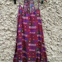 Ethnic Ikat Camis Dress Print Boho Festival casual Clothing Bohemian Styles Aztec Hippies Hobo Beach Summer Clothes Adjust Strap Red maroon