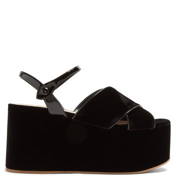 Crossover velvet flatform sandals | Miu Miu | MATCHESFASHION.COM US