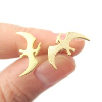 Pterodactyl Dinosaur Silhouette Prehistoric Animal Themed Stud Earrings in Gold
