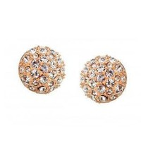 Champagne Austrian Crystal Earrings Studs  by Hallomall