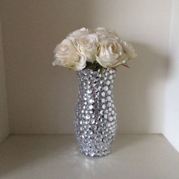 Glass Bud Vase with Clear Rhinestones