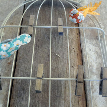 Shabby Chic Metal Bird Cage Wall Decor