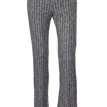 Ski House High Waist Knit Ribbed Flare Pants - Gray