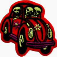 Hippy Aliens in Red Beetle Car with Daisies - Embroidered Iron On or Sew On Patch