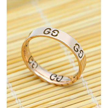 GUCCI Popular Women Personality Rose Golden Titanium Steel Hollow GG Letter Ring I12933-1