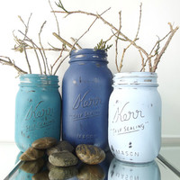 Hand Painted Mason Jars, Three - Rustic Style Jars - Shades of Blue, Painted Pint Mason Jars