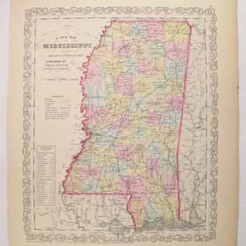 Original 1858 Mississippi Map 1858 Mitchell DeSilver Map of Mississippi, MS Map, Mississippi Gift for Parents, 1st Anniversary Gift for Him